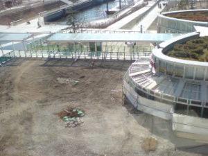 「ららぽーと豊洲」のドッグ前広場、リニューアル工事中!(2008年2月28日 撮影)